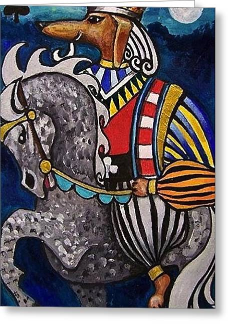 Camelot Drawings Greeting Cards - King Arthur Dachshund Dog Knight and King of Clubs Greeting Card by Dana Vacca