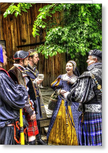 Vale Greeting Cards - King Arthur With Court at Gandalfs Garden Avalon Greeting Card by John Straton