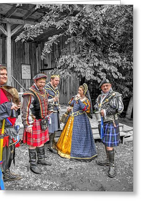 Guinevere Greeting Cards - King Arthur at Gandalfs Garden Avalon v2 Greeting Card by John Straton