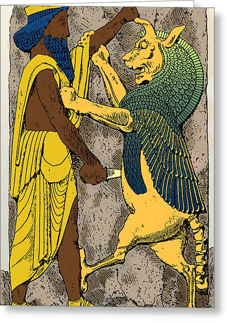 Ancient Persian Art Greeting Cards - King Battles Griffin, Persepolis Greeting Card by Science Source