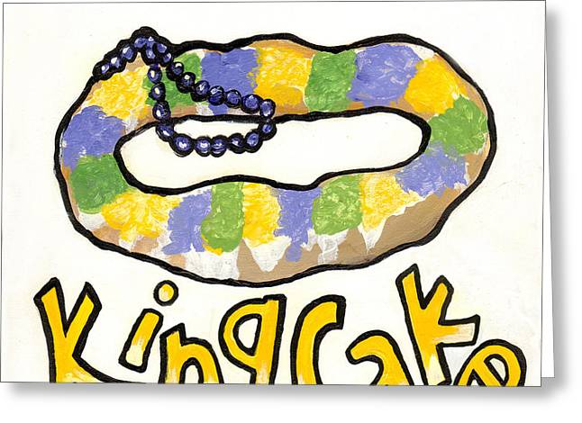 Mardi Gras Paintings Greeting Cards - King Cake Greeting Card by Elaine Hodges