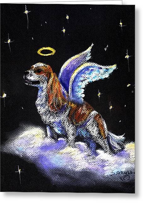 King Pastels Greeting Cards - King Charles Spaniel Angel Greeting Card by Darlene Grubbs