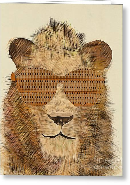 Lion Illustrations Greeting Cards - King Cool Greeting Card by Bri Buckley