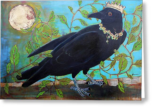 Birds Moon Greeting Cards - King Crow Greeting Card by Blenda Studio