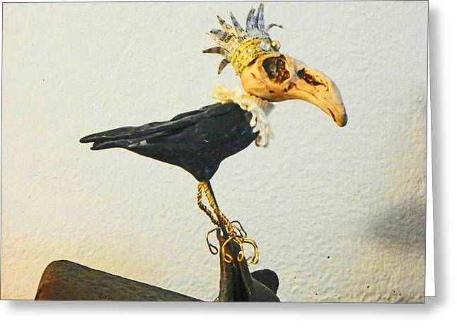 Bronze Wire Greeting Cards - King Crow Greeting Card by Lenore Senior