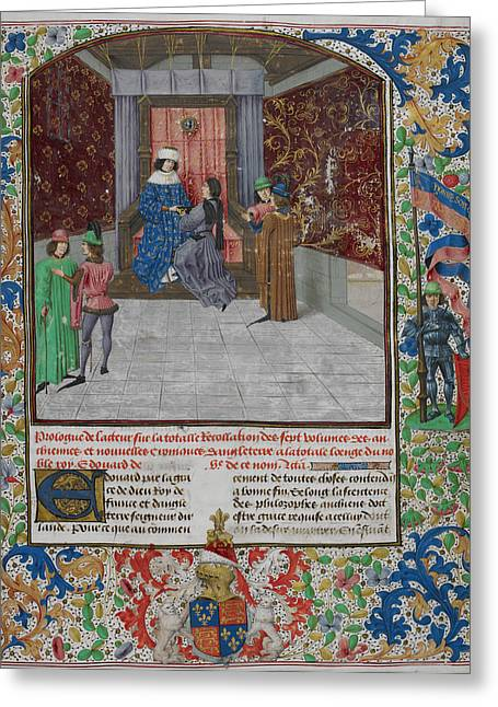 King Edward Iv Enthroned Greeting Card by British Library