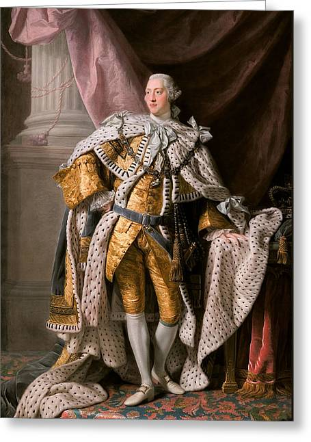 British Royalty Greeting Cards - King George III in coronation robes Greeting Card by Celestial Images
