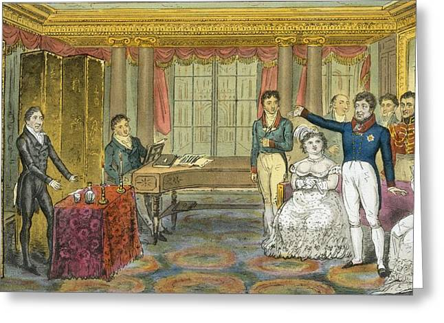 Royalty Greeting Cards - King George Iv At Carlton House Greeting Card by Isaac Robert Cruikshank