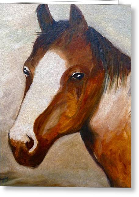 Horses Pyrography Greeting Cards - King Greeting Card by Ian Rigby