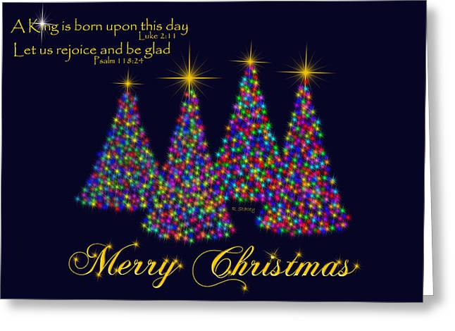 Luke 2:11 Greeting Cards - King Is Born Rejoice and Be Glad Greeting Card by Robyn Stacey