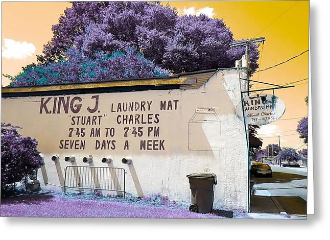 Laundry Mat Greeting Cards - King J. Laundry Mat Greeting Card by Paula   Baker