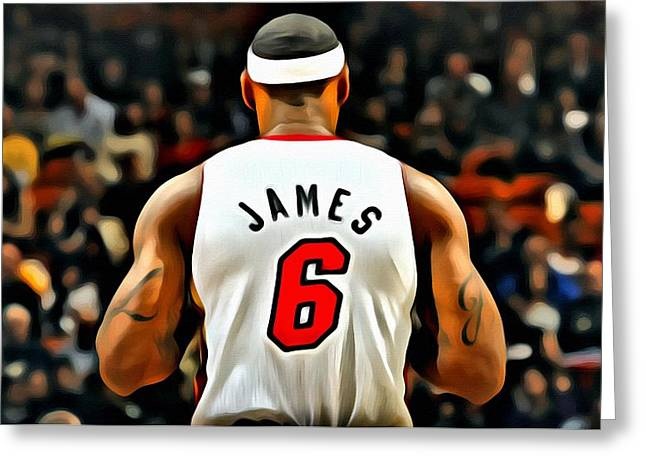 Miami Heat Posters Greeting Cards - King James Greeting Card by Florian Rodarte