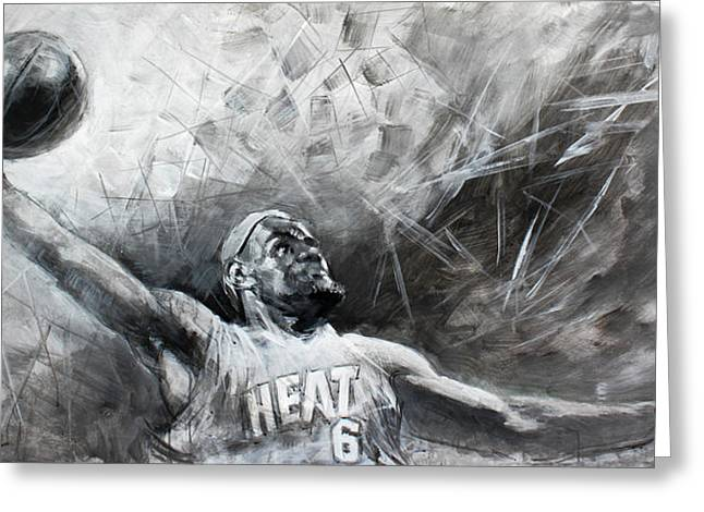 Basketball Paintings Greeting Cards - King James LeBron Greeting Card by Ylli Haruni
