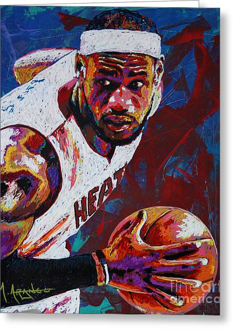 Lebron James Greeting Cards - King James Greeting Card by Maria Arango