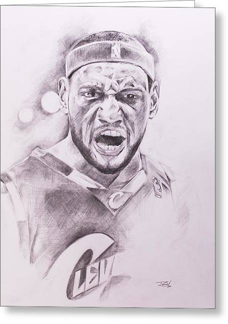 Miami Heat Drawings Greeting Cards - King James Greeting Card by Roderick Mance