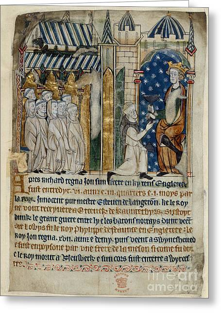 Monk-religious Occupation Greeting Cards - King John Is Offered Poison Greeting Card by British Library