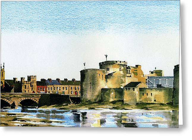 Shannon Greeting Cards - King Johns Castle Limerick Greeting Card by Val Byrne