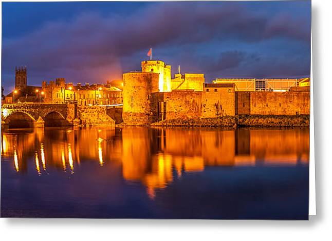 Limerick Greeting Cards - King Johns castle on the River Shannon Greeting Card by Pierre Leclerc Photography