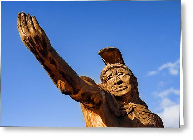 Wooden Sculpture Greeting Cards - King Kamehameha Greeting Card by Carol Leigh