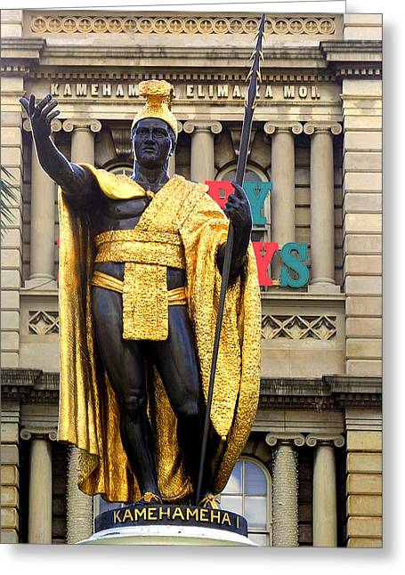 Kamehameha Greeting Cards - King Kamehameha Greeting Card by Linda Phelps