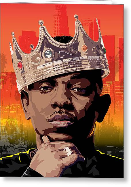 Rnb Greeting Cards - King Kendrick Greeting Card by Tecnificent