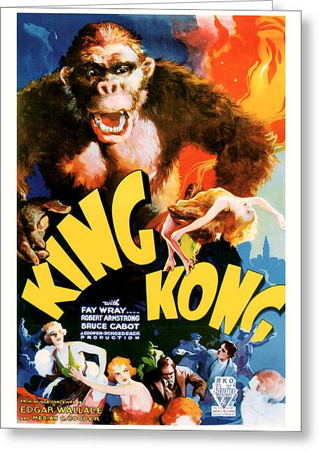 Classic Hollywood Mixed Media Greeting Cards - King Kong 1933 Movie Art Greeting Card by Presented By American Classic Art
