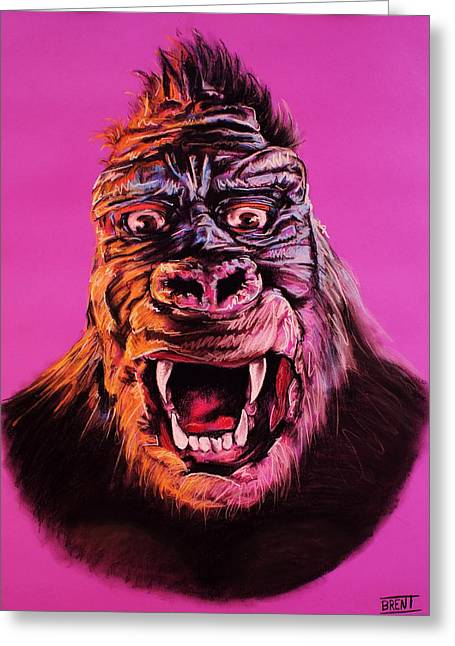 King Pastels Greeting Cards - King Kong Greeting Card by Brent Andrew Doty