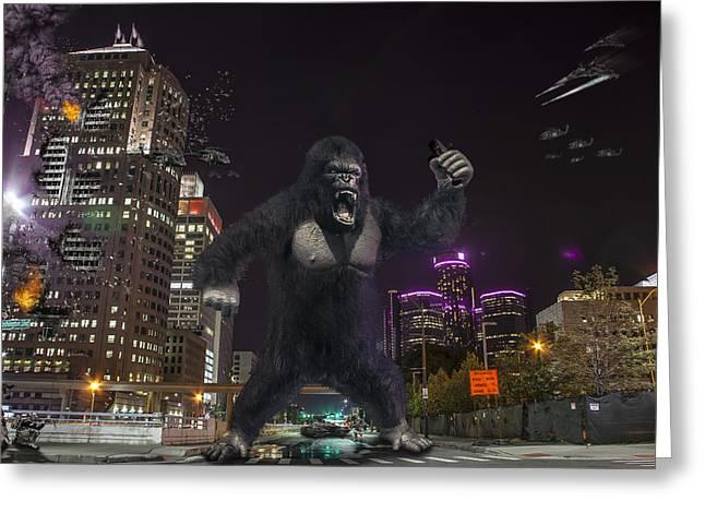 Batman Greeting Cards - King Kong on Jefferson St in Detroit Greeting Card by Nicholas  Grunas