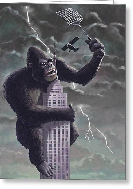 Cartoon Greeting Cards - King Kong Plane Swatter Greeting Card by Martin Davey