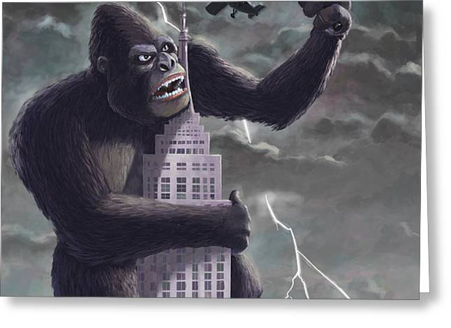 king kong plane swatter Greeting Card by Martin Davey