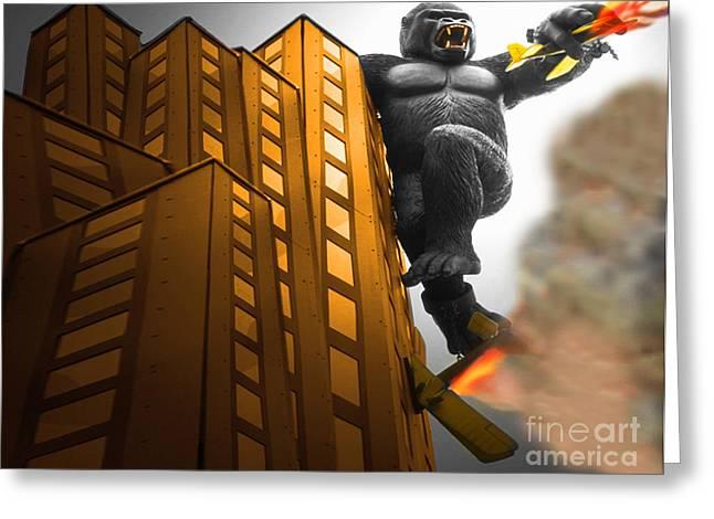 King Kong Greeting Cards - King Kong Strikes Back Greeting Card by Bob Christopher