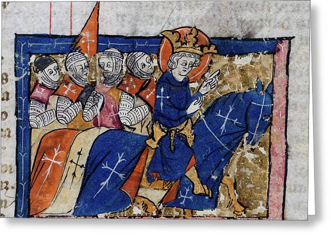 King Leading Crusaders Greeting Card by British Library
