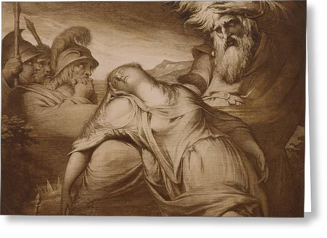 Shakespearean Greeting Cards - King Lear and Cordelia Greeting Card by James Barry