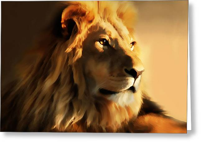 Animal Lover Digital Art Greeting Cards - King Lion Of Africa Greeting Card by Georgiana Romanovna