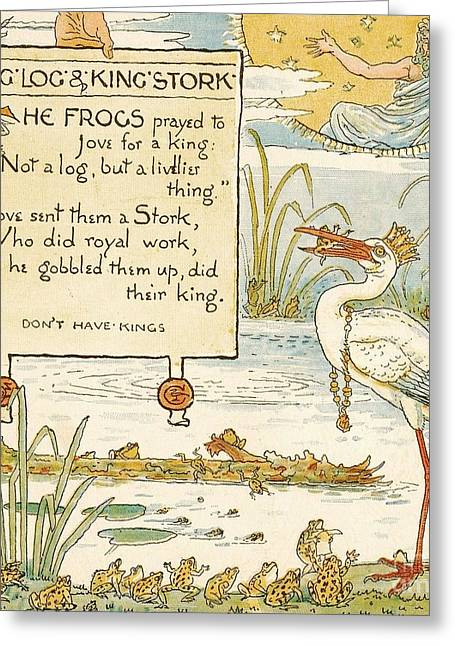 Moral Drawings Greeting Cards - King - Log - Kings Stork Greeting Card by Pg Reproductions