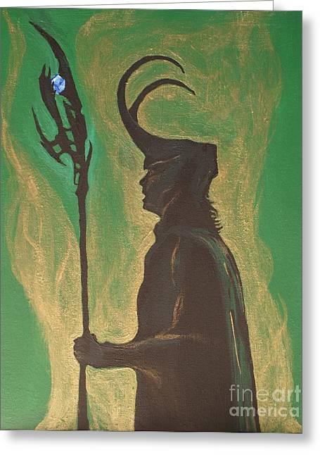 Loki Greeting Cards - King Loki Greeting Card by Christine Jepsen