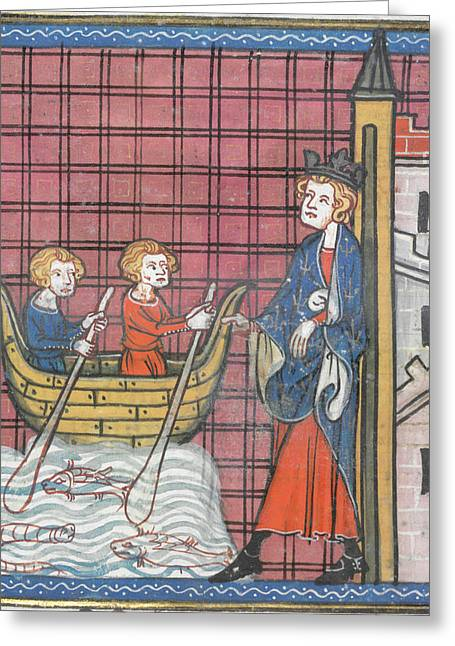 King Louis Ix Sails For France Greeting Card by British Library