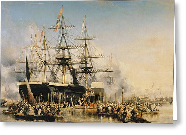 King Louis-philippe Disembarking At Portsmouth Greeting Card by Louis Eugene Gabriel Isabey