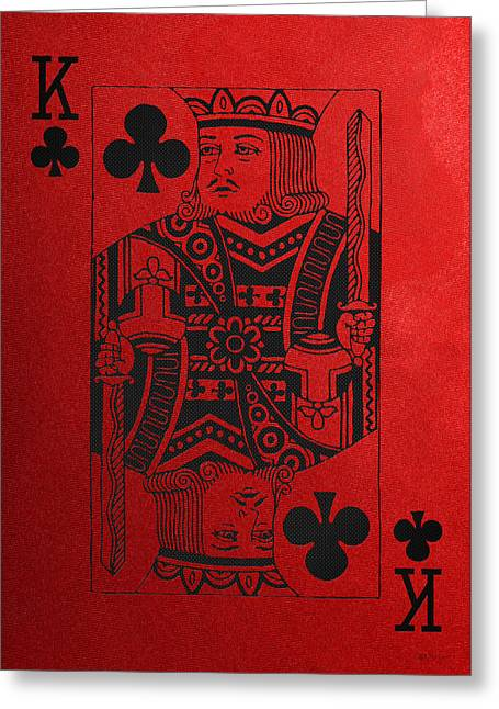 Playing Cards Greeting Cards - King of Clubs in Black on Red Canvas   Greeting Card by Serge Averbukh