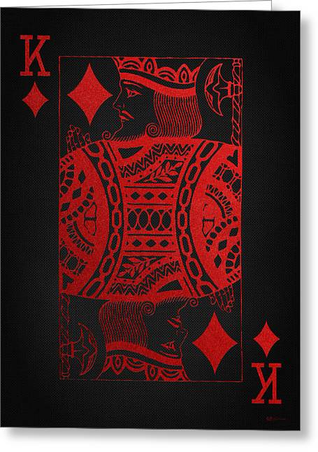 Playing Cards Greeting Cards - King of Diamonds in Red on Black Canvas   Greeting Card by Serge Averbukh