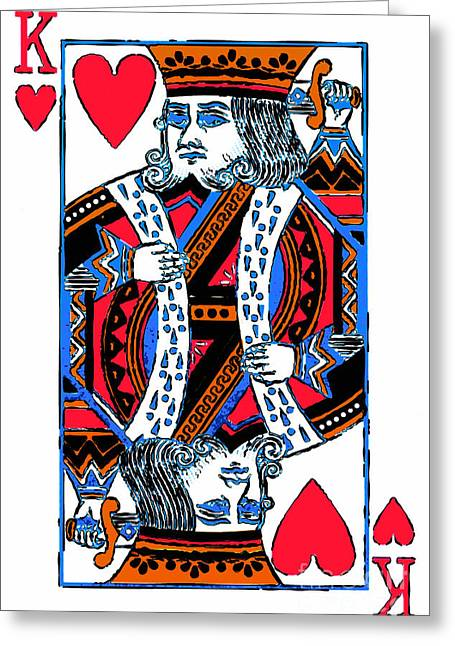 Playing Cards Digital Art Greeting Cards - King of Hearts 20140301 Greeting Card by Wingsdomain Art and Photography