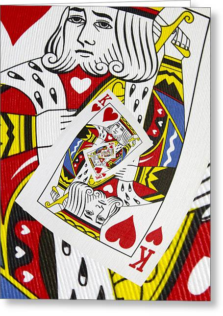 Playing Digital Art Greeting Cards - King of Hearts Collage Greeting Card by Kurt Van Wagner