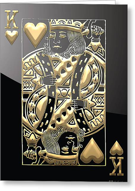 Playing Cards Greeting Cards - King of Hearts in Gold on Black Greeting Card by Serge Averbukh