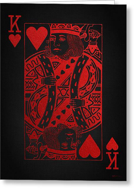 Playing Cards Greeting Cards - King of Hearts in Red on Black Canvas   Greeting Card by Serge Averbukh