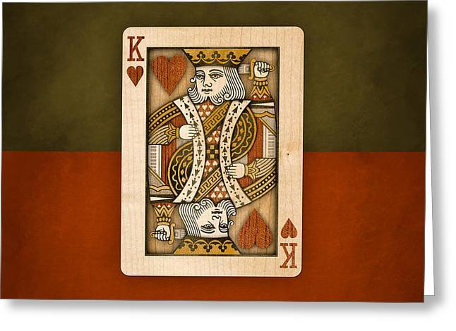 Four Aces Greeting Cards - King of Hearts in Wood Greeting Card by Yo Pedro