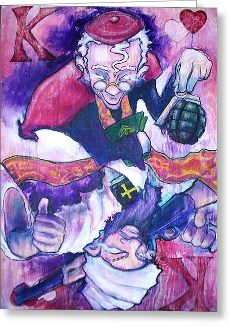 Bible Mixed Media Greeting Cards - King of Hearts Greeting Card by Reid Jenkins