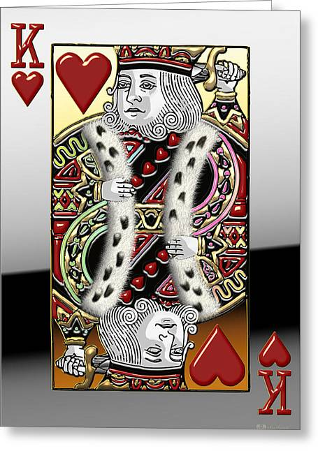 Playing Cards Greeting Cards - King of Hearts   Greeting Card by Serge Averbukh