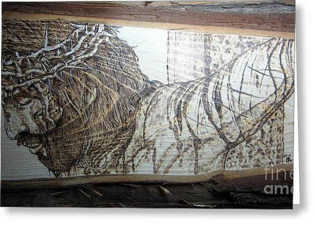Christ Pyrography Greeting Cards - King of Kings II Greeting Card by Cindy Jo Burleson