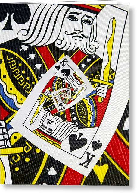 Playing Cards Greeting Cards - King of Spades Collage Greeting Card by Kurt Van Wagner