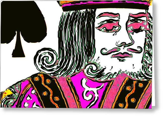 Deck Of Cards Greeting Cards - King of Spade 20140812 square Greeting Card by Wingsdomain Art and Photography